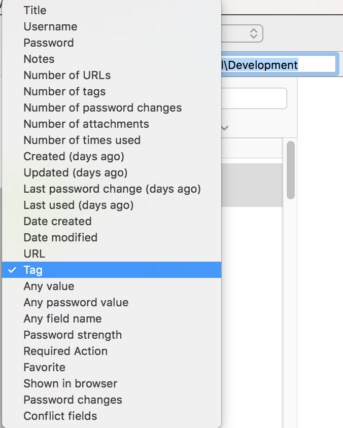 1Password Search Options List