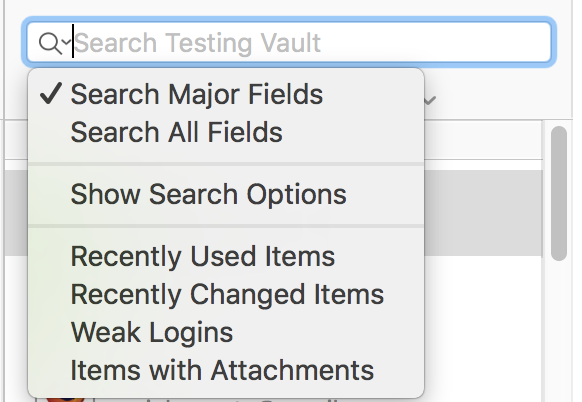 1Password Search Options