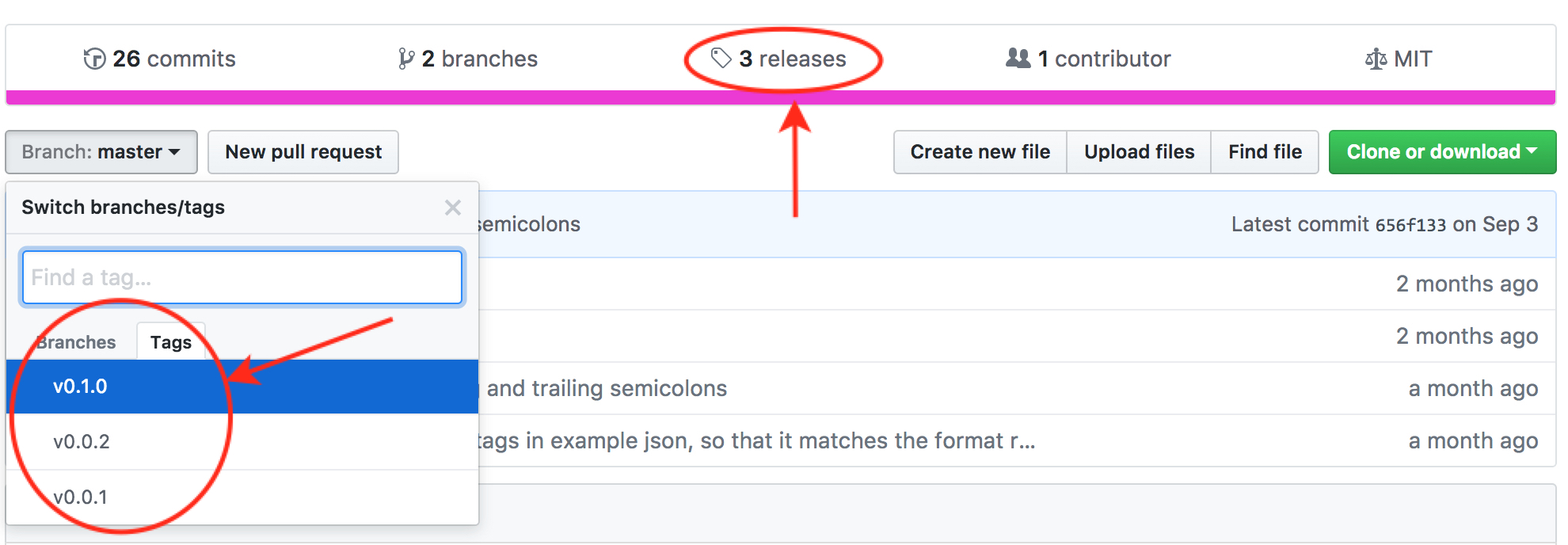 Git tags and release versions